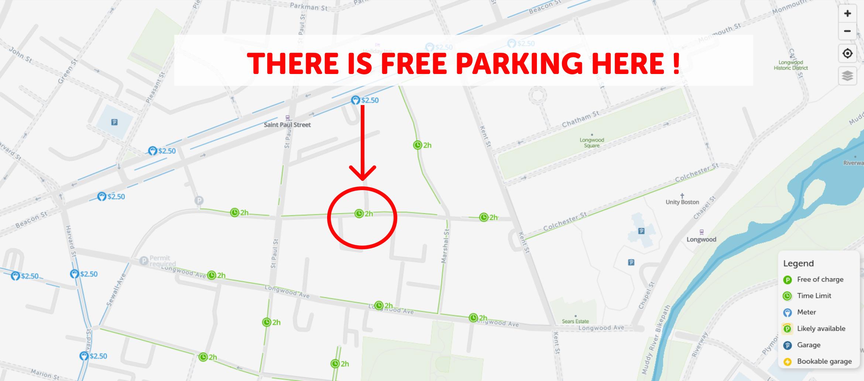 map of free parking in Brookline - SpotAngels