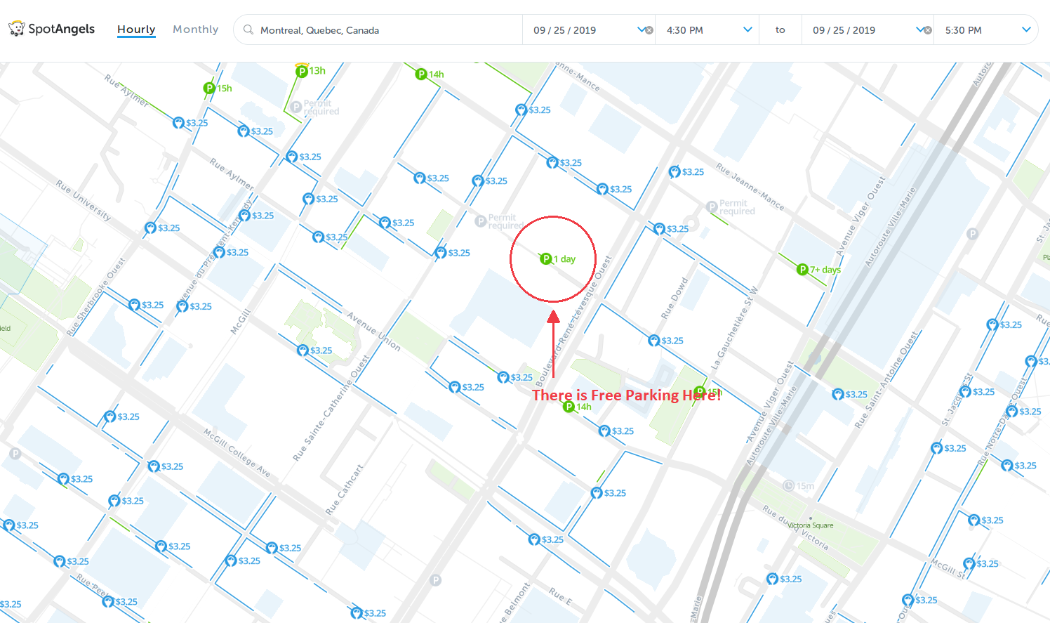 map of free parking in Montreal - SpotAngels